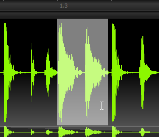 Click and drag on the waveform (in Edit Mode) to select the audio you want to edit.